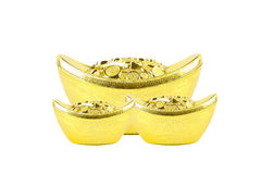 Decoration of gold ingots Stock Photo