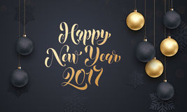 Decoration golden ball ornament New Year holiday greeting. 2017 golden decoration ornament with Christmas ball on vip black background with snowflake pattern stock illustration