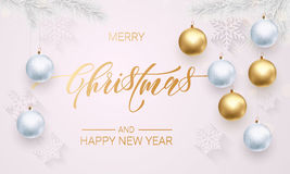 Decoration golden ball white snowflake ornament Merry Christmas holiday greeting Stock Image