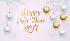 Decoration golden ball white snowflake ornament New Year holiday greeting Royalty Free Stock Image
