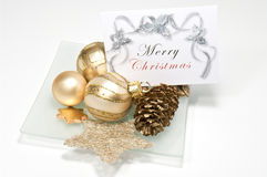 Decoration with greeting card. Decoratio with greeting card on white Royalty Free Stock Photo