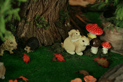 Decoration hare and mushrooms Stock Photography