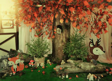 Decoration hare and mushrooms Stock Image