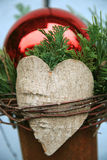 Decoration with heart and bauble Stock Images