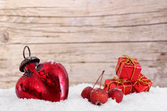 Decoration with heart, little apples and parcels Stock Photo