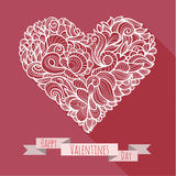 Decoration heart 02. White decoration heart with a pattern inside. Vector illustration Royalty Free Stock Image