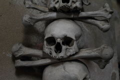 Decoration from human bones and skulls. On cemetery Church of All Saints with an ossuary in Sedlec (Kutna Hora, Czech Republic stock photography