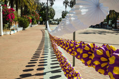 Decoration hung in Ayamonte as preperation for The Angustias Festival Royalty Free Stock Image