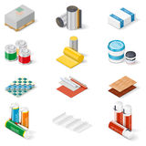 Decoration and insulation materials isometric icon set Royalty Free Stock Photos
