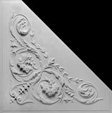 Decoration item made of white plaster. Relief stucco interior stock image