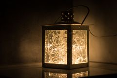 Decoration lantern filled with led lights Royalty Free Stock Photo