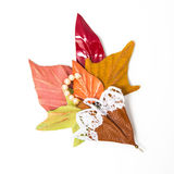 The decoration of leather. brooch in the shape of umbrella with flowers handmade royalty free stock photo