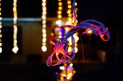Decoration lights with other lights in the background Royalty Free Stock Photos