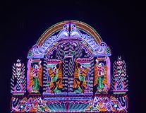 Decoration Lights Photograph. Beautiful street lighting with colourful combination of lights background photograph. Hindu religious festival lights Stock Images
