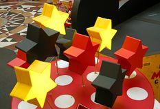 Decoration with luminous stars in the children`s Mall royalty free stock photos
