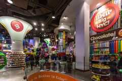 Decoration of the M&M's World New York. Positioned in the heart of Broadway Royalty Free Stock Photos