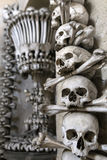 Decoration made from human bones and skulls in Bone church or Sedlec Ossuary Stock Images