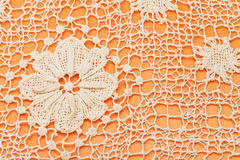 Decoration by Maltese bobbin lace close up. Vintage knitting craftsmanship - decoration by Maltese bobbin lace close up Stock Image