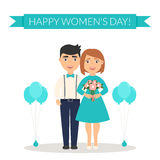 Decoration on March, 8. Male congratulates his female a Happy Women`s Day and presents a bouquet of flowers. Cute Royalty Free Stock Image