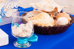 Decoration on the marine theme with seashells Stock Image
