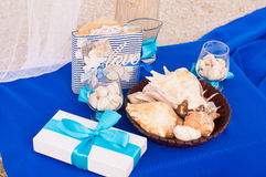 Decoration on the marine theme with seashells Royalty Free Stock Photos