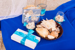 Decoration on the marine theme with seashells Royalty Free Stock Image