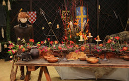 Decoration medieval feast in the castle Stock Image