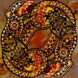 Decoration motley animal pattern, floral fragments, tropical cat. Decoration motley animal pattern, floral fragments, tropical motif vector illustration