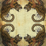 Decoration motley animal pattern, floral fragments, tropical cat Royalty Free Stock Photo
