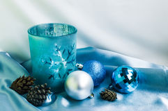 Decoration for New Year and Christmas. Candle and xmas balls. Decoration for New Year and Christmas. Candle and some xmas balls Royalty Free Stock Images