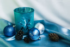 Decoration for New Year and Cristmas. Candle and xmas balls Stock Images