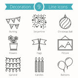 Decoration Objects Line Icons  Royalty Free Stock Images