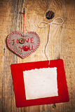Decoration On Wooden Background With Fabric Heart And Blank Card Royalty Free Stock Photo