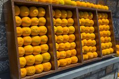 Decoration from oranges on the wall stock photo