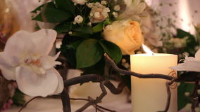 Decoration with orchids and candles stock footage
