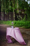 Decoration. Outdoor Birthday decoration with lilac Royalty Free Stock Images