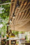 Decoration, outdoor retro vintage string lights hanging in a line. Lighting decor. Stock Image
