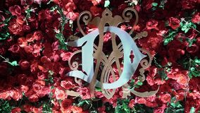 Decoration at the party. With red roses stock video footage