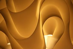 Decoration pattern. A curved pattern of an illuminated lamp stock photo