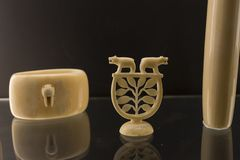 Decoration piece of ivory from sea lion royalty free stock photography