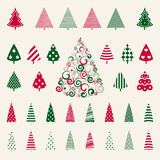 Decoration pine trees celebration set. Stock Photos