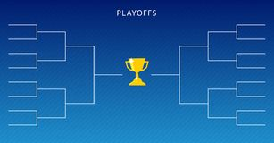 Decoration of playoffs schedule template on blue background. Creative Design Tournament Bracket. Vector Illustration stock illustration