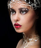 Decoration. Portrait of Gorgeous Woman with Pearls and Beads Royalty Free Stock Photography