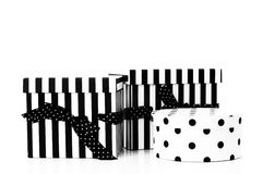 Decoration presents. Three black and white presents in a studio with white background stock images