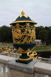 Decoration of railing in Grand Peterhof Palace and the Grand Cascade Stock Photo