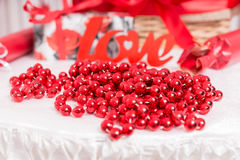 Decoration of red beads for Love Royalty Free Stock Photo