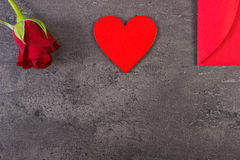 Decoration of red rose, heart and love letter for Valentines Day, copy space for text Royalty Free Stock Photography