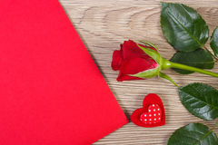 Decoration of red rose, heart and love letter for Valentines Day Stock Image