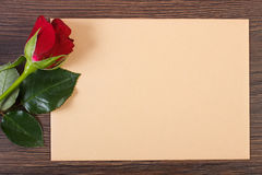 Decoration of red rose and love letter for Valentines Day, copy space for text Stock Photos
