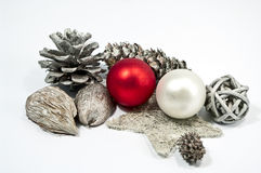 Decoration in red and silver. Decoration for christmas in red and silver Royalty Free Stock Images